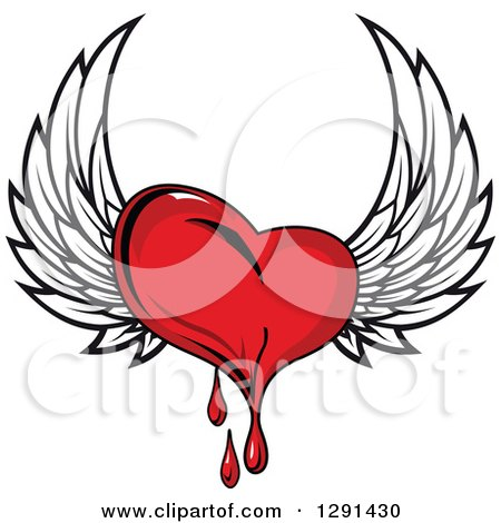 Clipart of a Bleeding Red Winged Heart - Royalty Free Vector Illustration by Vector Tradition SM