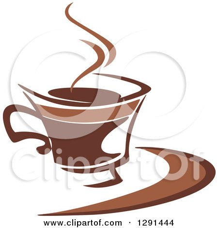 Clipart of a Two Toned Brown and White Steamy Coffee Cup on a Saucer 32 - Royalty Free Vector Illustration by Vector Tradition SM