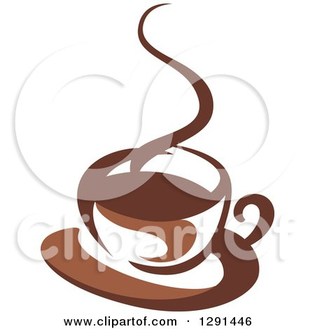Clipart of a Two Toned Brown and White Steamy Coffee Cup on a Saucer 27 - Royalty Free Vector Illustration by Vector Tradition SM