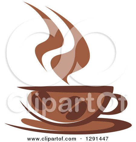 Clipart of a Two Toned Brown and White Steamy Coffee Cup with Beans on a Saucer - Royalty Free Vector Illustration by Vector Tradition SM