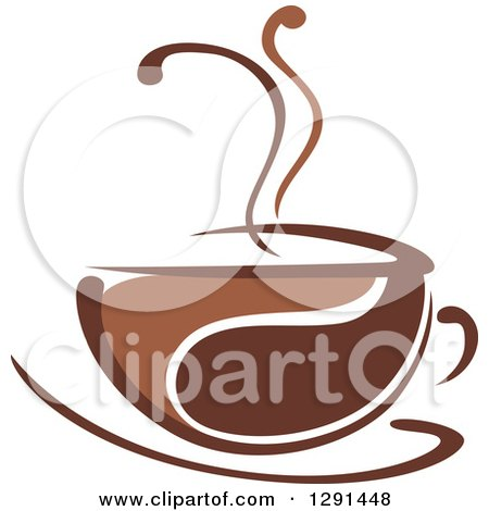 Clipart of a Two Toned Brown and White Steamy Coffee Cup on a Saucer 28 - Royalty Free Vector Illustration by Vector Tradition SM