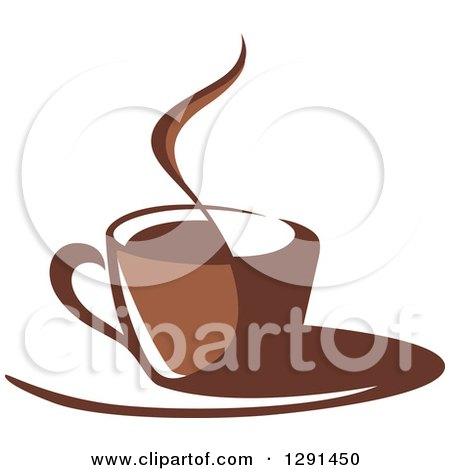 Clipart of a Two Toned Brown and White Steamy Coffee Cup on a Saucer 30 - Royalty Free Vector Illustration by Vector Tradition SM