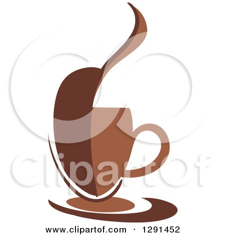 Clipart of a Two Toned Brown and White Abstract Bean Steamy Coffee Cup on a Saucer - Royalty Free Vector Illustration by Vector Tradition SM