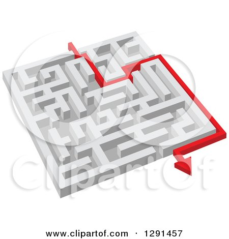 Clipart of a 3d White Maze with a Red Arrow Guide - Royalty Free Vector Illustration by Vector Tradition SM