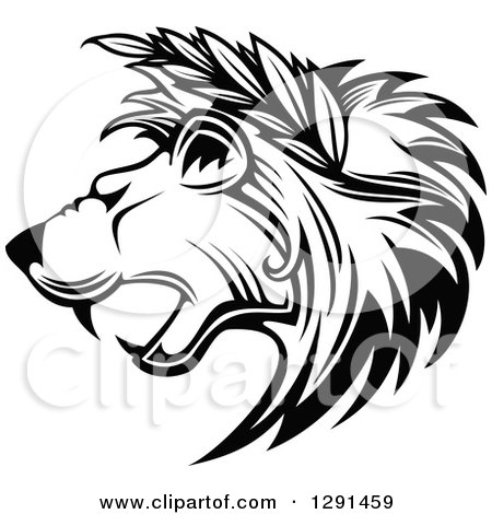 Clipart of a Black and White Roaring Lion Head in Profile, with Leaves in His Mane - Royalty Free Vector Illustration by Vector Tradition SM