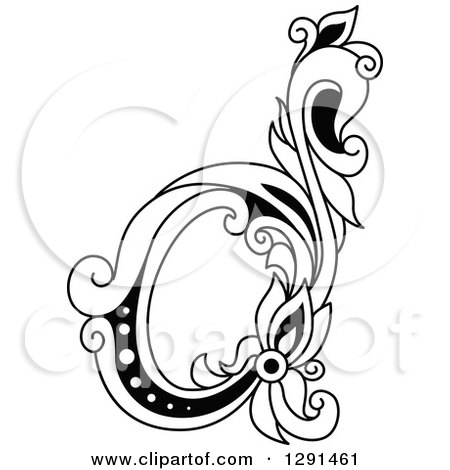 Clipart Of A Black And White Vintage Lowercase Floral Letter D