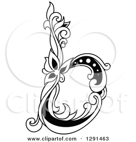 Clipart of a Black and White Vintage Lowercase Floral Letter B - Royalty Free Vector Illustration by Vector Tradition SM