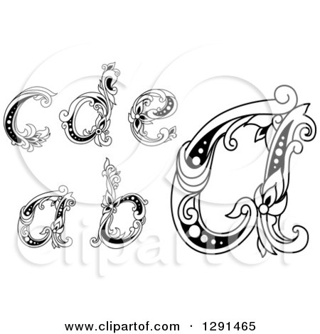 Clipart of Black and White Vintage Lowercase Floral Letters A, B, C, D and E - Royalty Free Vector Illustration by Vector Tradition SM