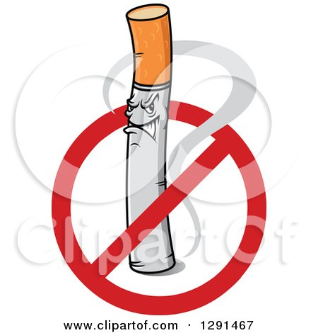Clipart of a Tough Cigarette Inside a Restricted Symbol - Royalty Free Vector Illustration by Vector Tradition SM