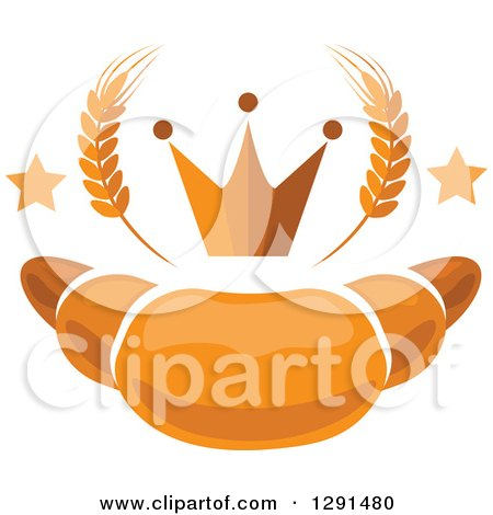 Clipart of a Croissant with Stars, Wheat and a Crown - Royalty Free Vector Illustration by Vector Tradition SM