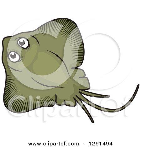 Clipart of a Cartoon Green Manta Ray - Royalty Free Vector Illustration by Vector Tradition SM
