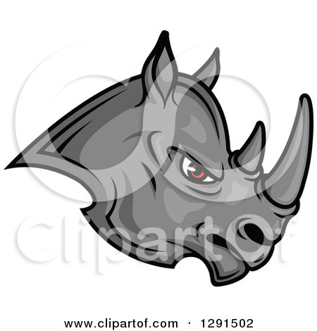 Fierce Gray Rhino with Red Eyes, Facing Right Posters, Art Prints