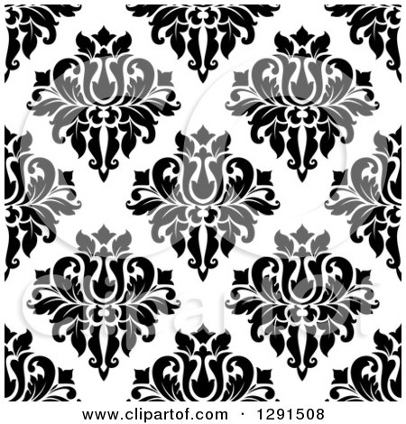 Clipart of a Seamless Pattern Background of Black and White Floral Damask 4 - Royalty Free Vector Illustration by Vector Tradition SM