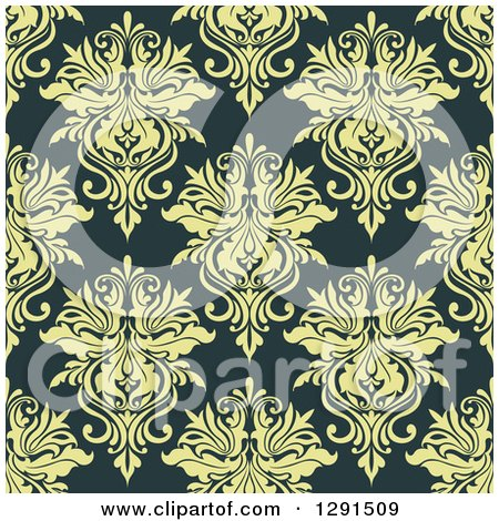 Clipart of a Seamless Pattern Background of Vintage Green Floral Damask - Royalty Free Vector Illustration by Vector Tradition SM