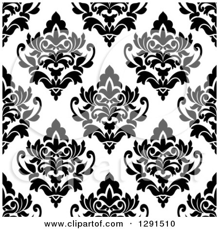 Clipart of a Seamless Pattern Background of Black and White Floral Damask 5 - Royalty Free Vector Illustration by Vector Tradition SM
