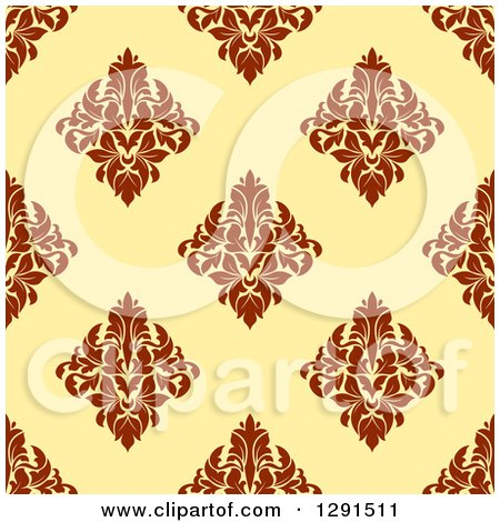 Clipart of a Seamless Pattern Background of Vintage Brown Floral Damask on Yellow - Royalty Free Vector Illustration by Vector Tradition SM