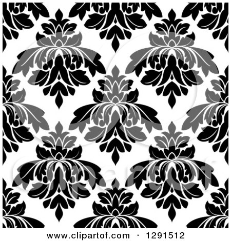 Clipart of a Seamless Pattern Background of Black and White Floral Damask 6 - Royalty Free Vector Illustration by Vector Tradition SM