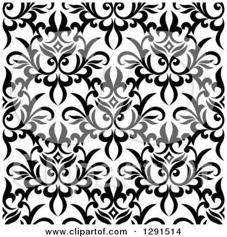 Clipart of a Seamless Pattern Background of Black and White Floral Damask 3 - Royalty Free Vector Illustration by Vector Tradition SM