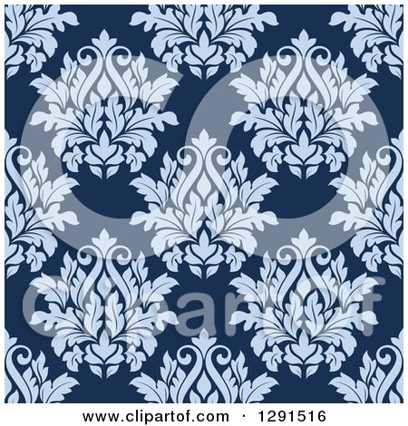 Clipart of a Seamless Pattern Background of Vintage Purple Floral Damask on Blue - Royalty Free Vector Illustration by Vector Tradition SM