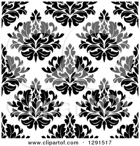 Clipart of a Seamless Pattern Background of Black and White Floral Damask 2 - Royalty Free Vector Illustration by Vector Tradition SM