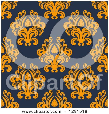 Clipart of a Seamless Pattern Background of Vintage Orange Floral Damask on Navy Blue - Royalty Free Vector Illustration by Vector Tradition SM