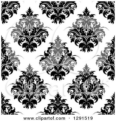 Clipart of a Seamless Pattern Background of Black and White Floral Damask - Royalty Free Vector Illustration by Vector Tradition SM