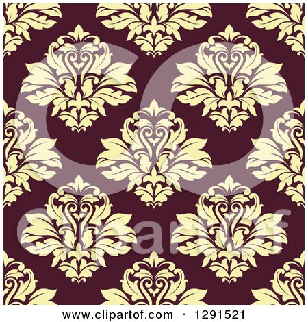 Clipart of a Seamless Pattern Background of Vintage Floral Damask - Royalty Free Vector Illustration by Vector Tradition SM