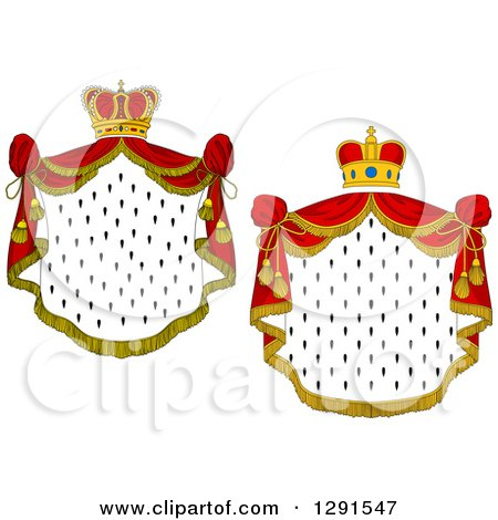 Clipart of Crowns and Royal Mantles with Red Drapes - Royalty Free Vector Illustration by Vector Tradition SM