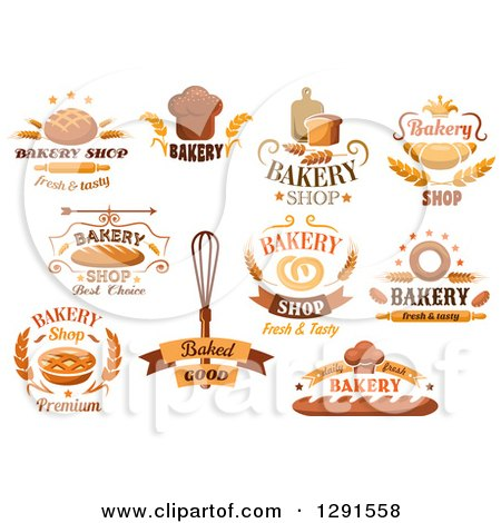 Clipart of Baked Goods and Bakery Text Designs - Royalty Free Vector Illustration by Vector Tradition SM