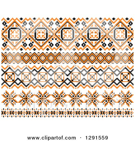 Clipart of a Orange Black and White Native American Border Designs - Royalty Free Vector Illustration by Vector Tradition SM
