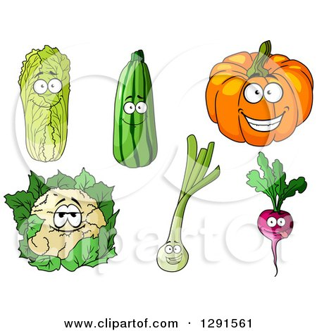 Clipart of Happy Cabbage, Zucchini, Pumpkin, Cauliflower, Leek and Beet Characters - Royalty Free Vector Illustration by Vector Tradition SM