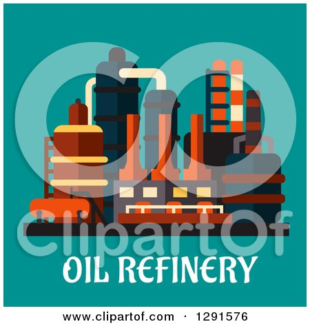 Clipart of an Oil Refinery Structure over Text on Teal - Royalty Free Vector Illustration by Vector Tradition SM