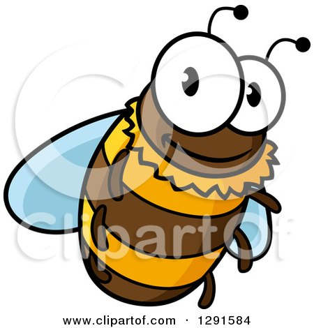 Clipart of a Cartoon Happy Bee Flying - Royalty Free Vector Illustration by Vector Tradition SM