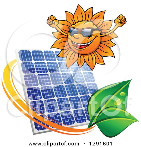Clipart of a Cheering Sun Wearing Shades and Solar Panel Encircled with a Swoosh and Green Leaves - Royalty Free Vector Illustration by Vector Tradition SM