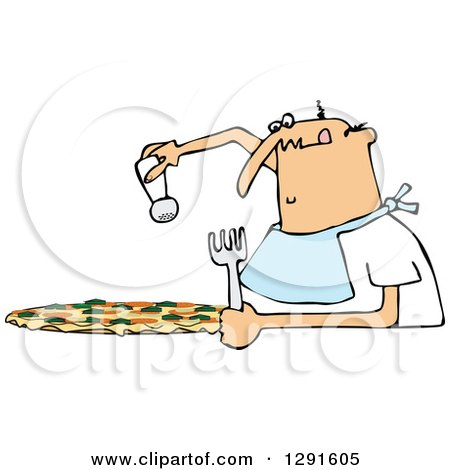 Clipart of a Chubby Bald Caucasian Man Salting a Pizza - Royalty Free Vector Illustration by djart