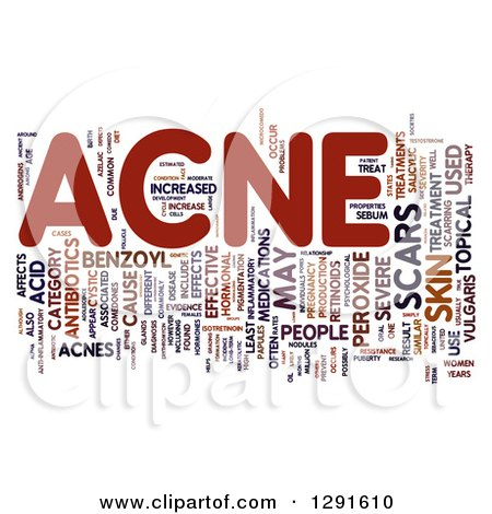 Clipart of a Brown and Black ACNE Tag Word Collage on White - Royalty Free Illustration by MacX
