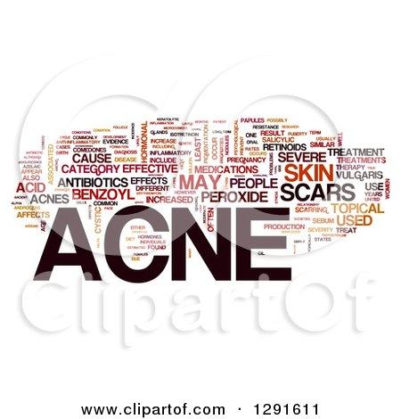 Clipart of a Brown Black and Orange and ACNE Tag Word Collage on White - Royalty Free Illustration by MacX