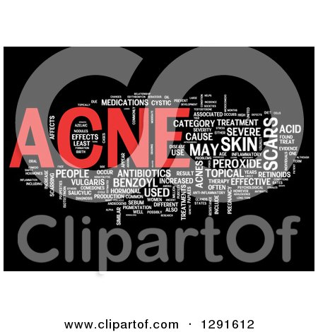 Clipart of a Red and White ACNE Tag Word Collage on Black - Royalty Free Illustration by MacX