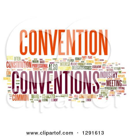 Clipart of a Colorful CONVENTION Tag Word Collage on White - Royalty ...