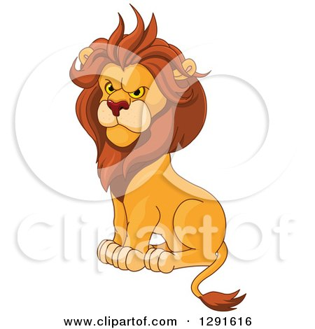 Clipart of a Sitting Angry Male Lion - Royalty Free Vector Illustration by Pushkin