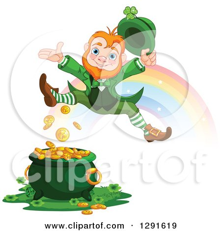 Clipart of a Happy St Patricks Day Leprechaun Leaping over a Pot of Gold at the End of a Rainbow - Royalty Free Vector Illustration by Pushkin