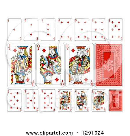 Clipart of Layout of a Diamonds Playing Card Suit - Royalty Free Vector Illustration by AtStockIllustration