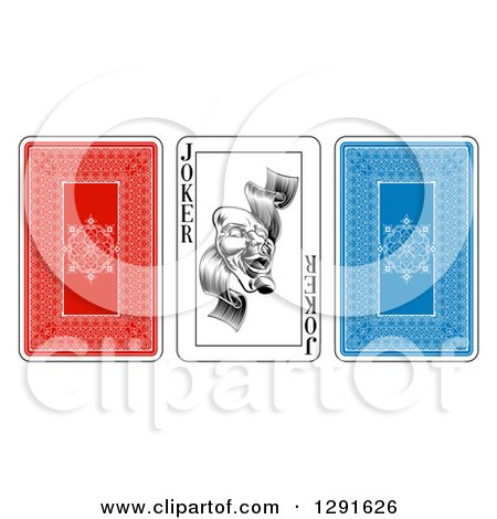 Clipart of Red and Blue and Joker Playing Cards - Royalty Free Vector Illustration by AtStockIllustration