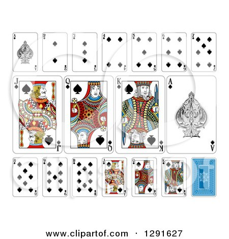 Clipart of Layout of a Spades Playing Card Suit - Royalty Free Vector Illustration by AtStockIllustration