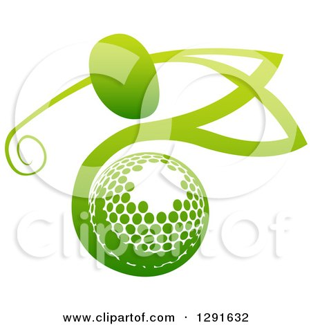 Clipart of an Abstract Gradient Green Man Golfing over a Ball - Royalty Free Vector Illustration by AtStockIllustration
