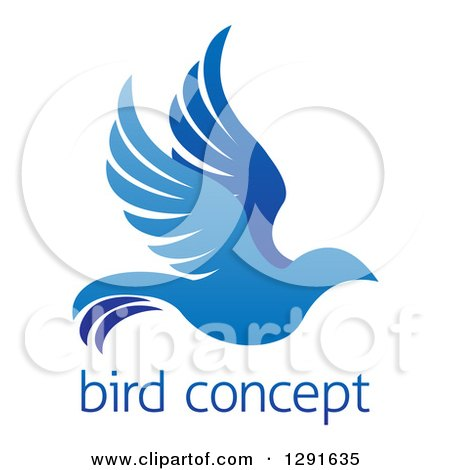 Clipart of a Gradient Flying Blue Bird over Sample Text - Royalty Free Vector Illustration by AtStockIllustration
