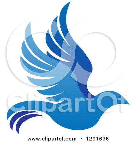 Gradient Blue Bird Flying to the Right Posters, Art Prints