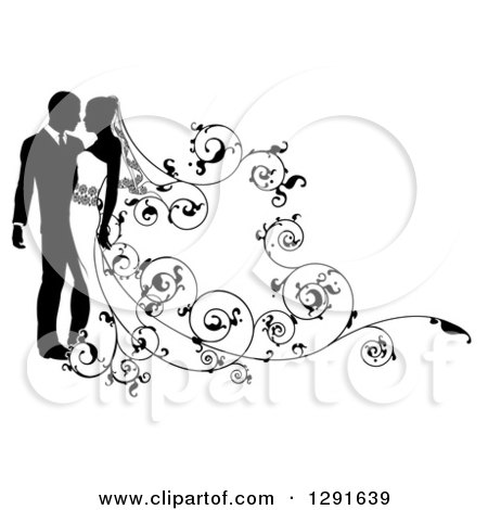 Clipart of a Black and White Silhouetted Wedding Couple with a Swirl Floral Train 2 - Royalty Free Vector Illustration by AtStockIllustration