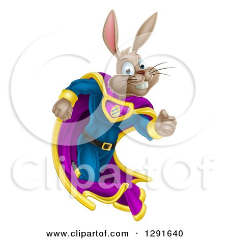 Clipart of a Brown Easter Super Hero Bunny Rabbit Running - Royalty Free Vector Illustration by AtStockIllustration
