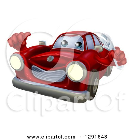 Clipart of a Happy Cartoon Red Car Character Mechanic Holding a Wrench and Thumb up - Royalty Free Vector Illustration by AtStockIllustration